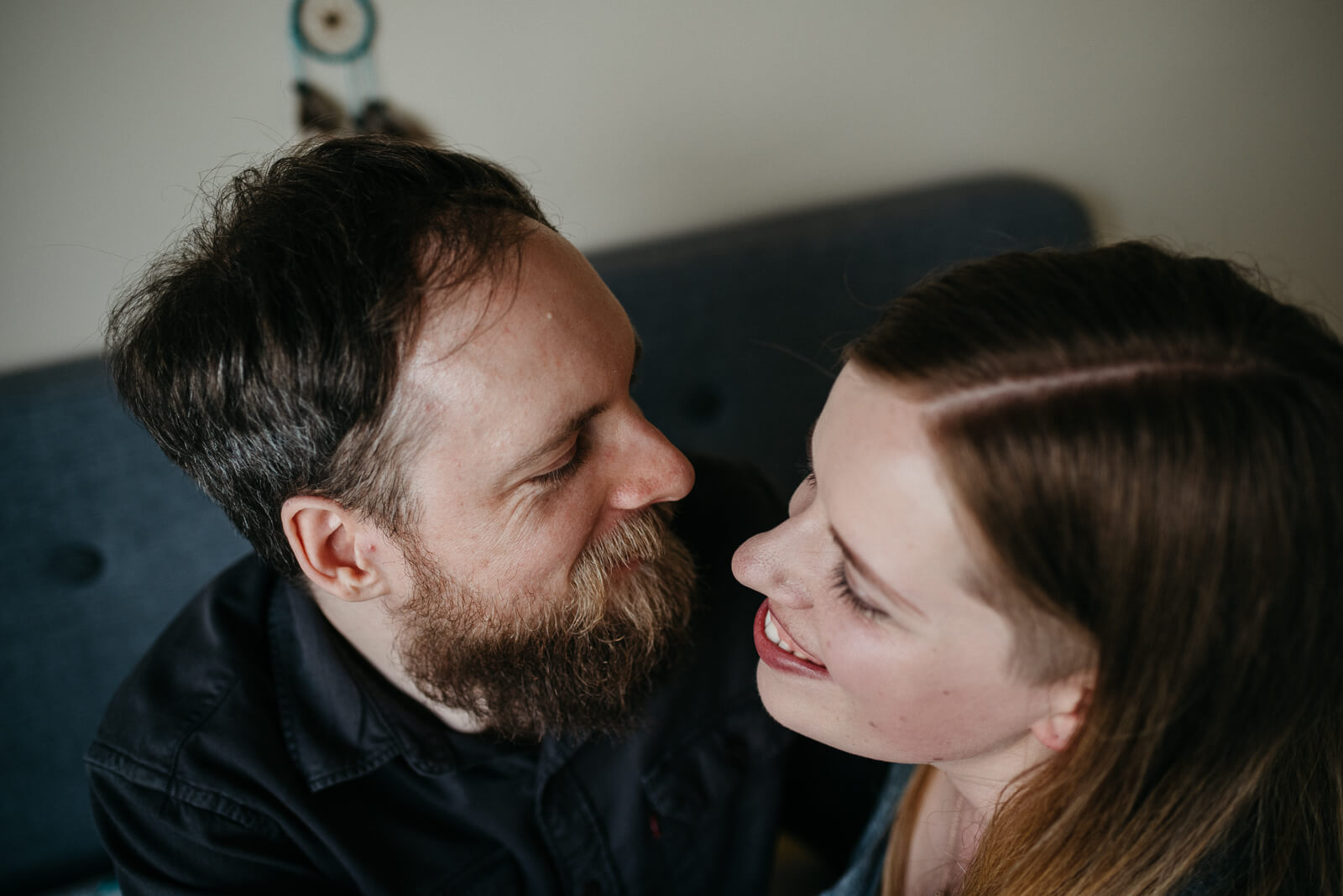 Gary and Sarah at their couple shoot in their Glasgow home