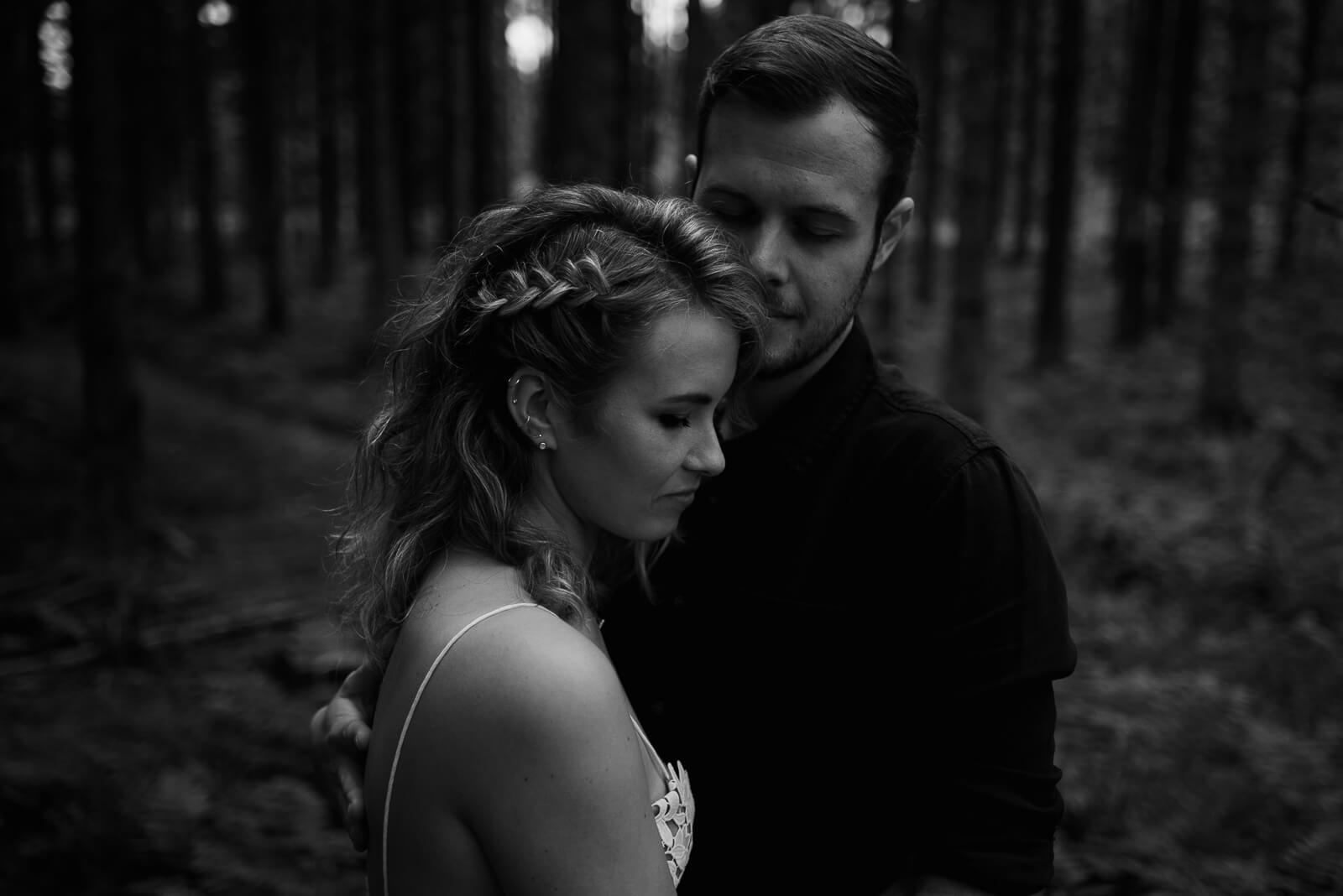 black and white portrait of bride and groom at Somerset woodland wedding