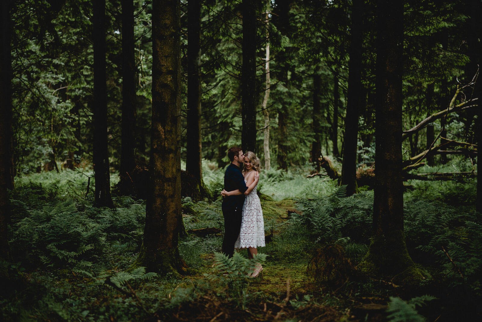 Bath bride and groom in woodland setting
