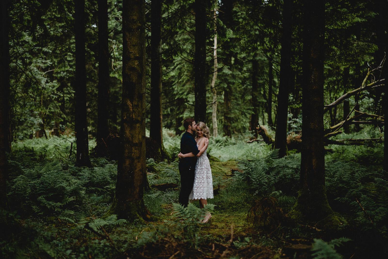 Bath bride and groom in woodland setting