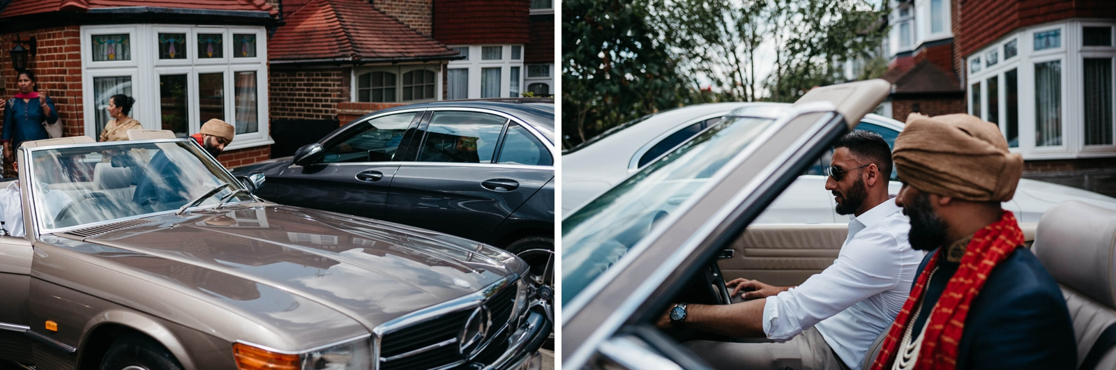 groom leaving in convertible mercedes wedding car in London