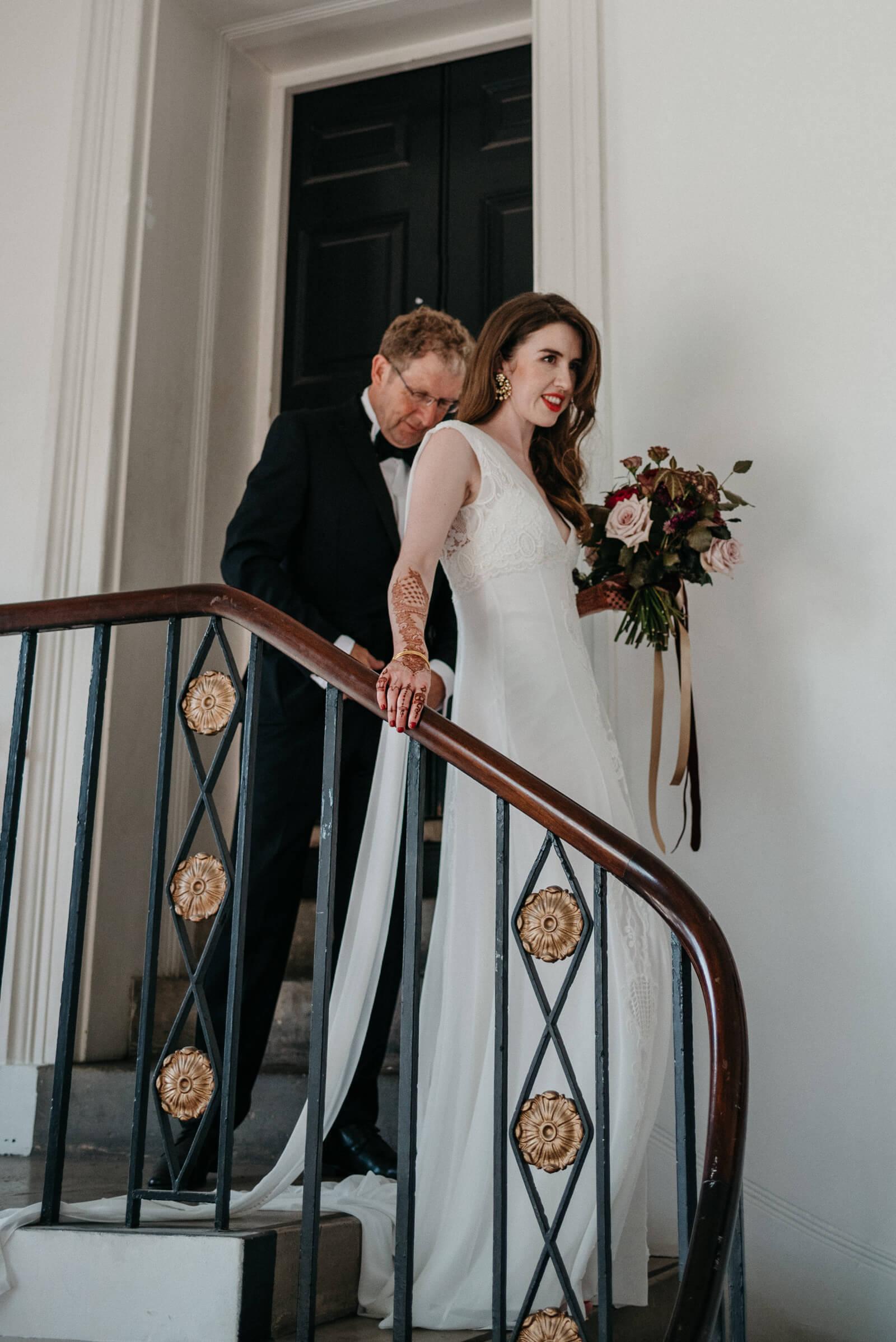 elegant bride moments before marrying at Marylebone One, London