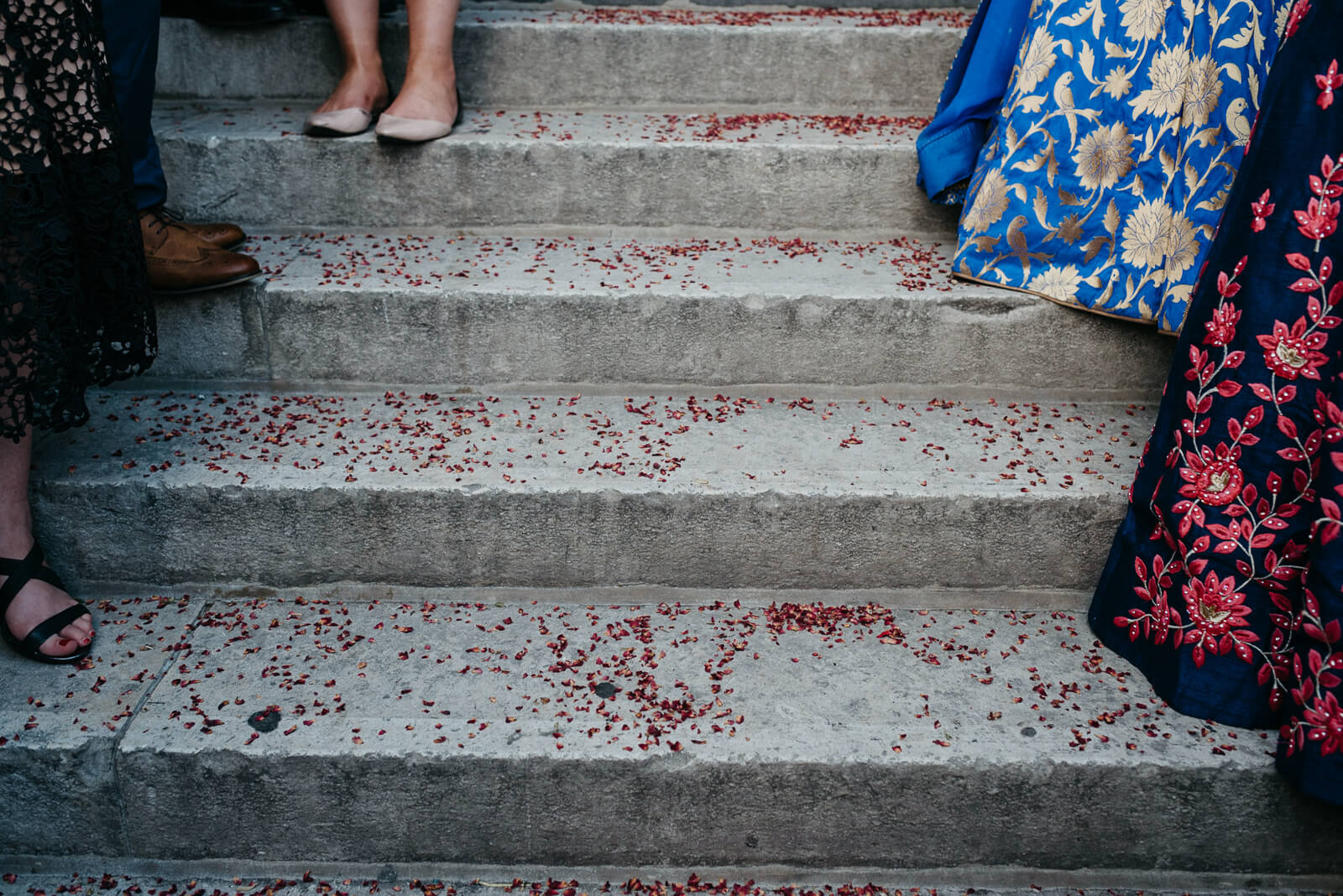 Confetti on steps of Marylebone One, London