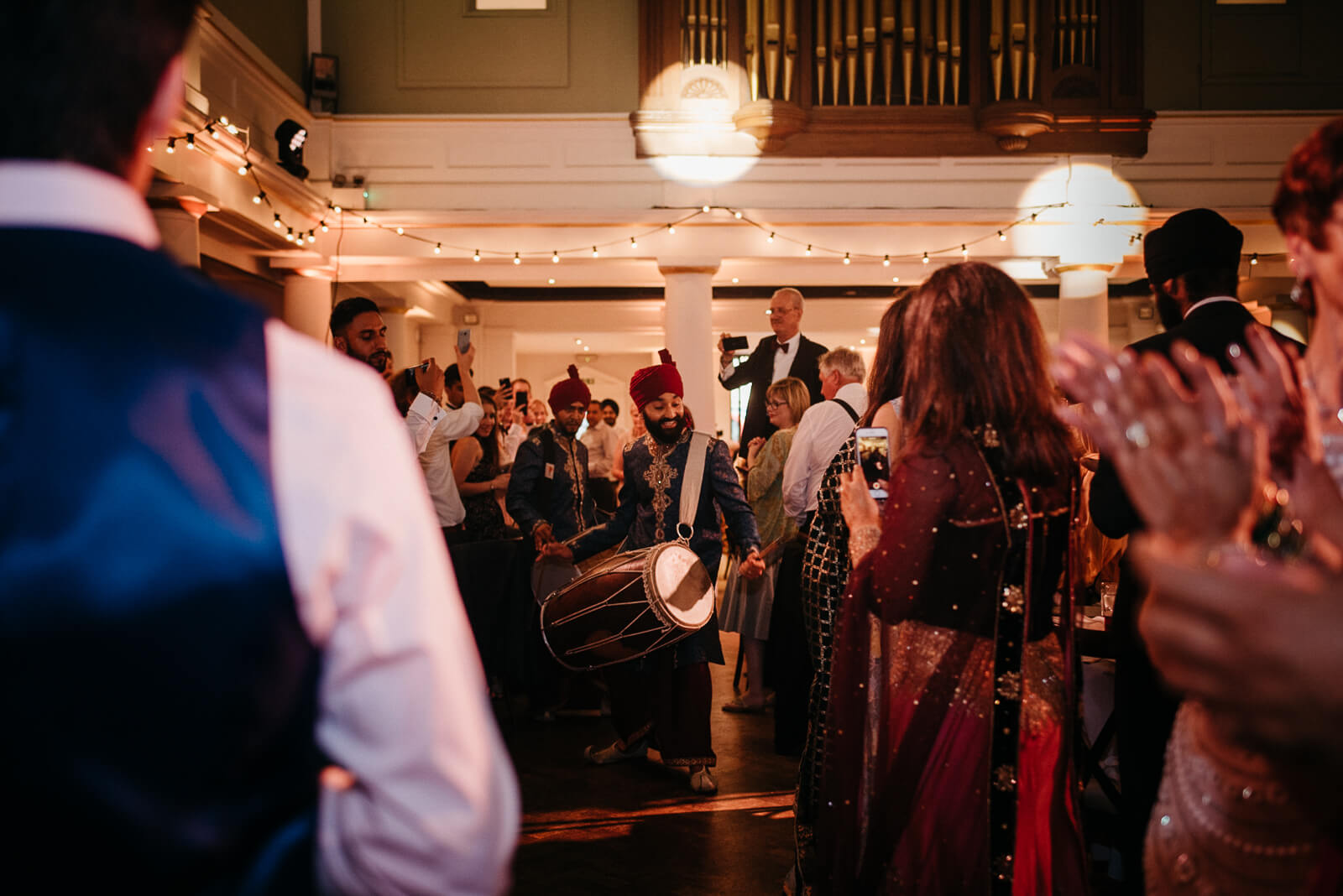 traditional Indian wedding drummers at London fusion wedding