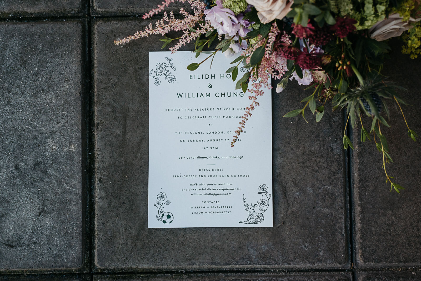 Decadent yet modern wedding stationery next to London brides bouquet
