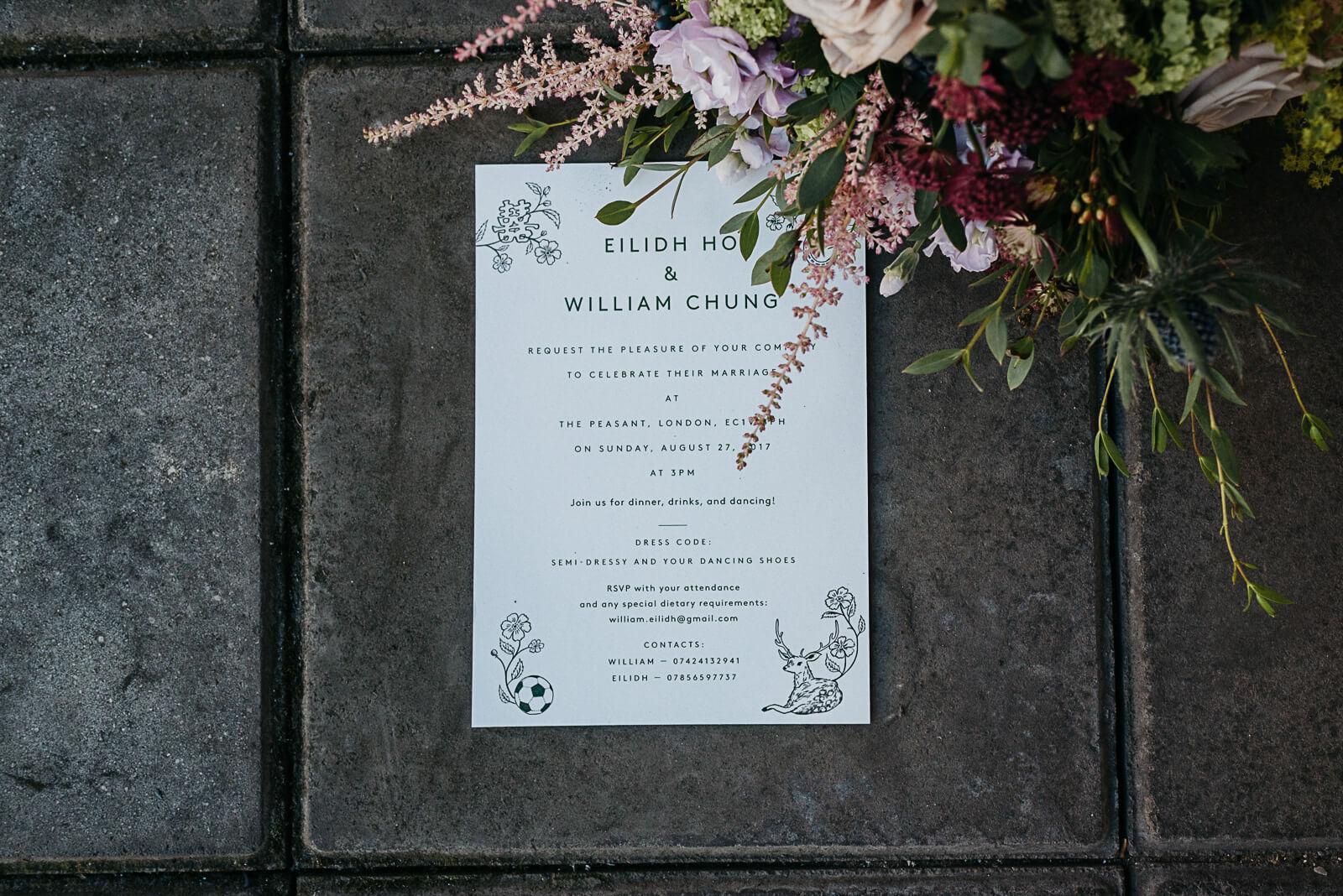 Decadent yet modern wedding stationery next to London brides bouquet
