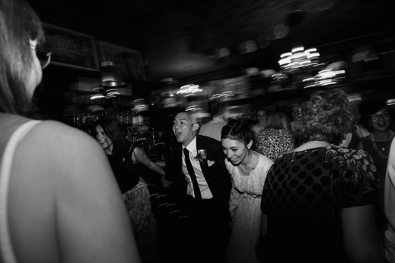 bride and groom enjoying ceilidh at the Peasant Pub in Clerkenwell