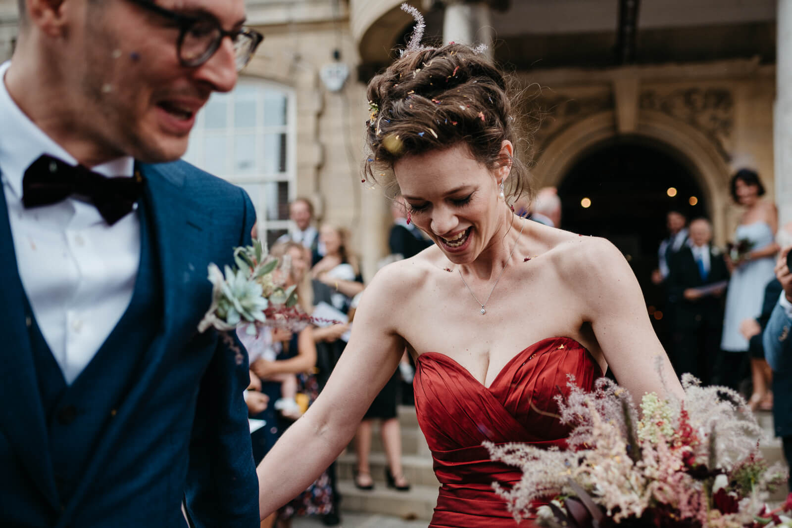 bride moments after confetti throw outside wedding venue Battersea Arts Centre