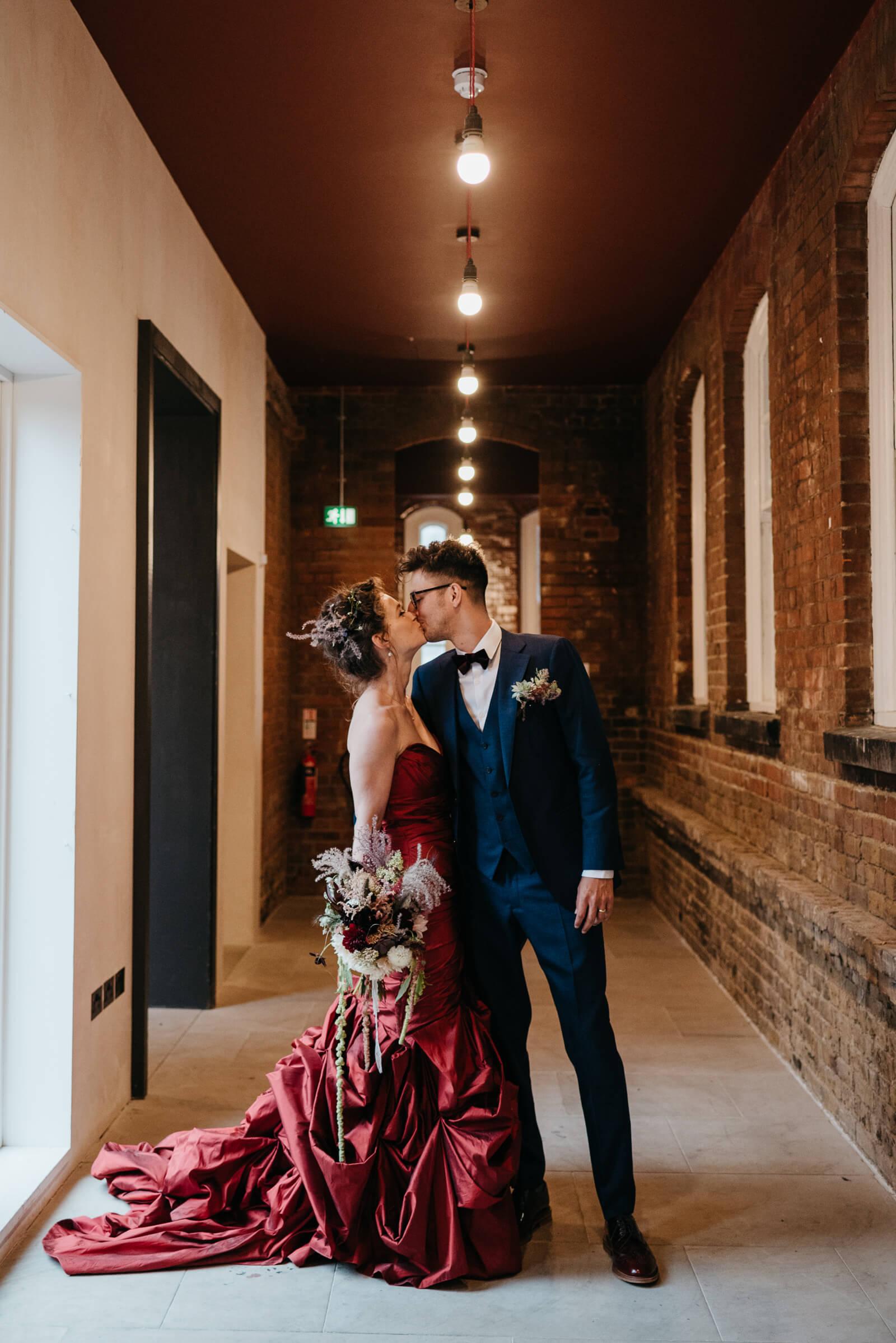 Bride & groom portraits in Battersea Arts Centre