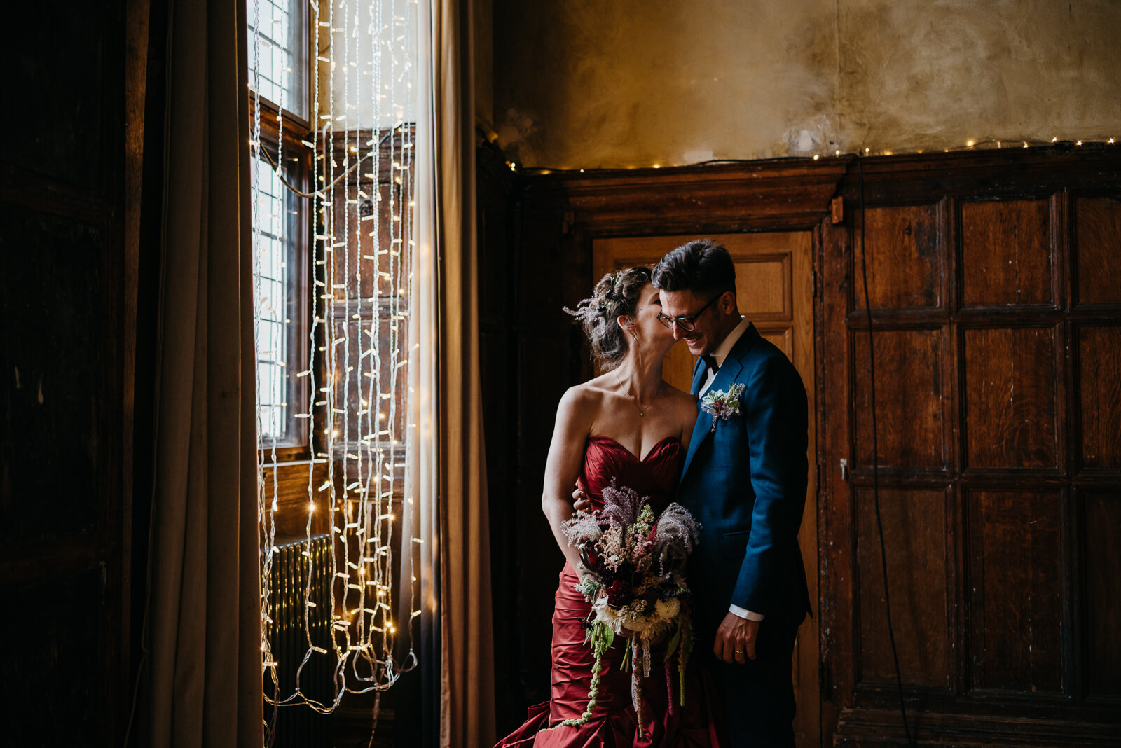 London bride and groom stop for portraits during their summer wedding at Battersea Arts Centre