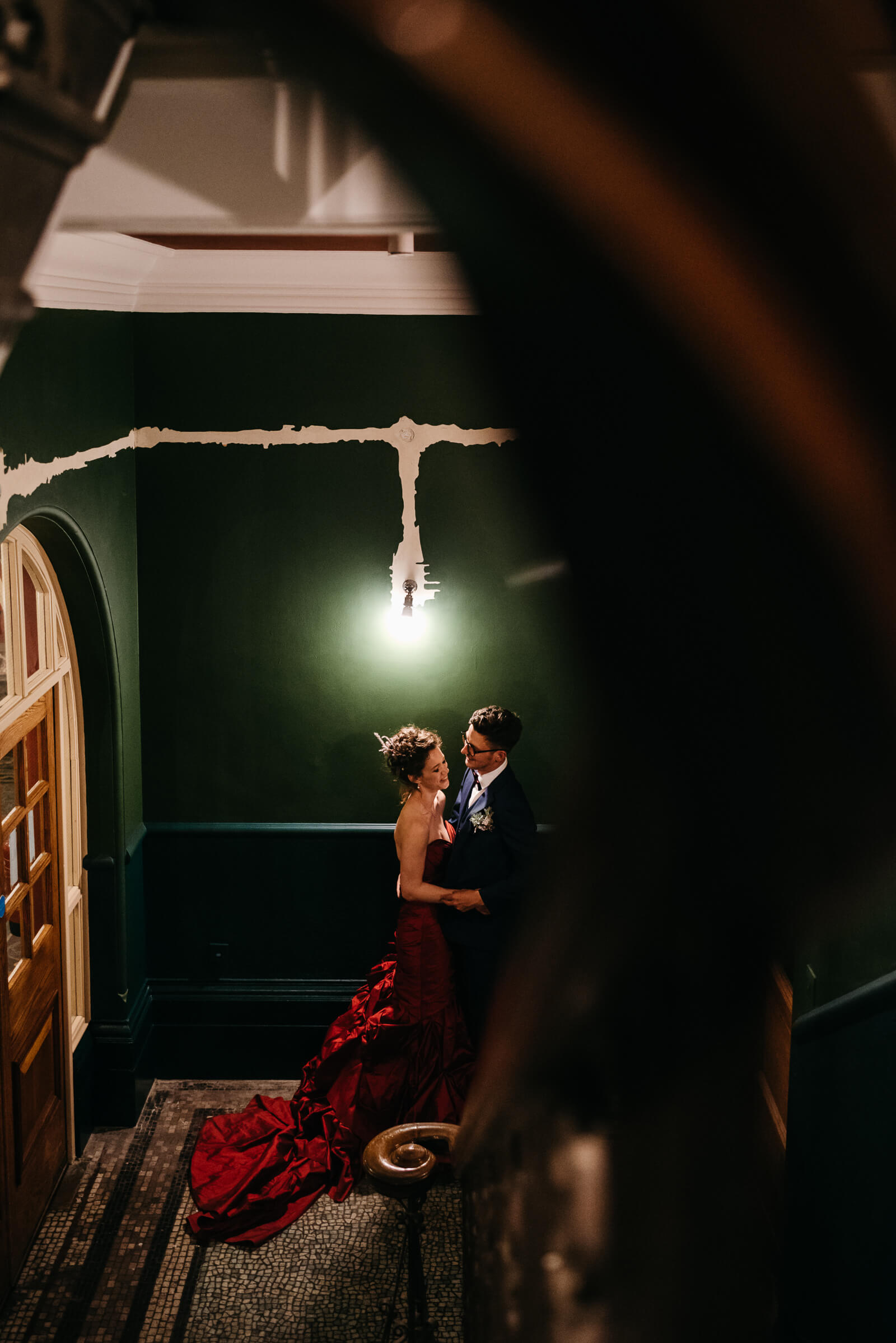 creative wedding portrait of bride and groom at Battersea Arts Centre