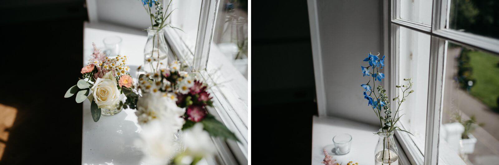 Beautiful handpicked wildflower arrangements on window ledge at Belair House