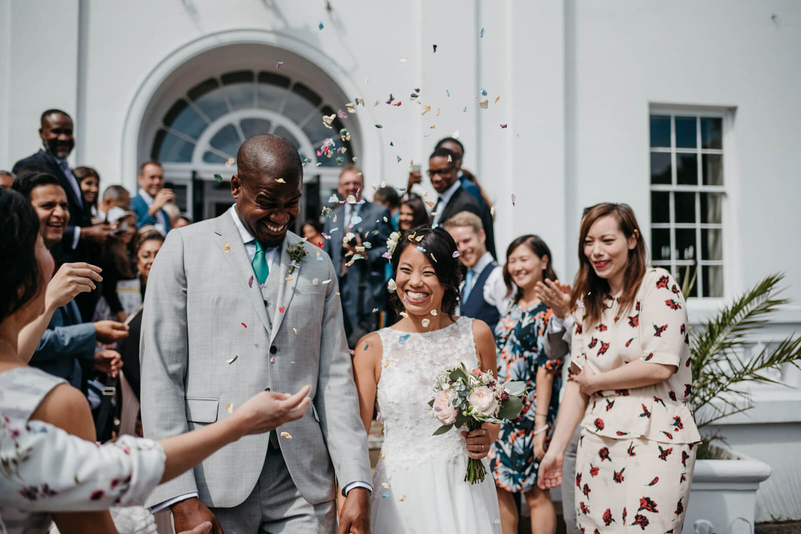 Confetti thrown over bride and groom at Belair House wedding
