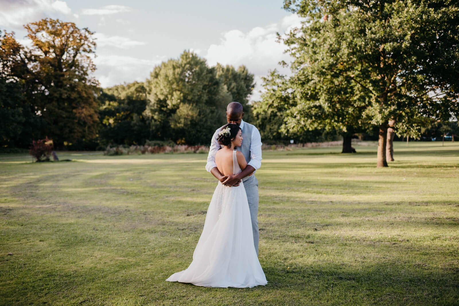 Portrait of Bride and Groom during their relaxed wedding celebration at Belair House, Dulwich, London