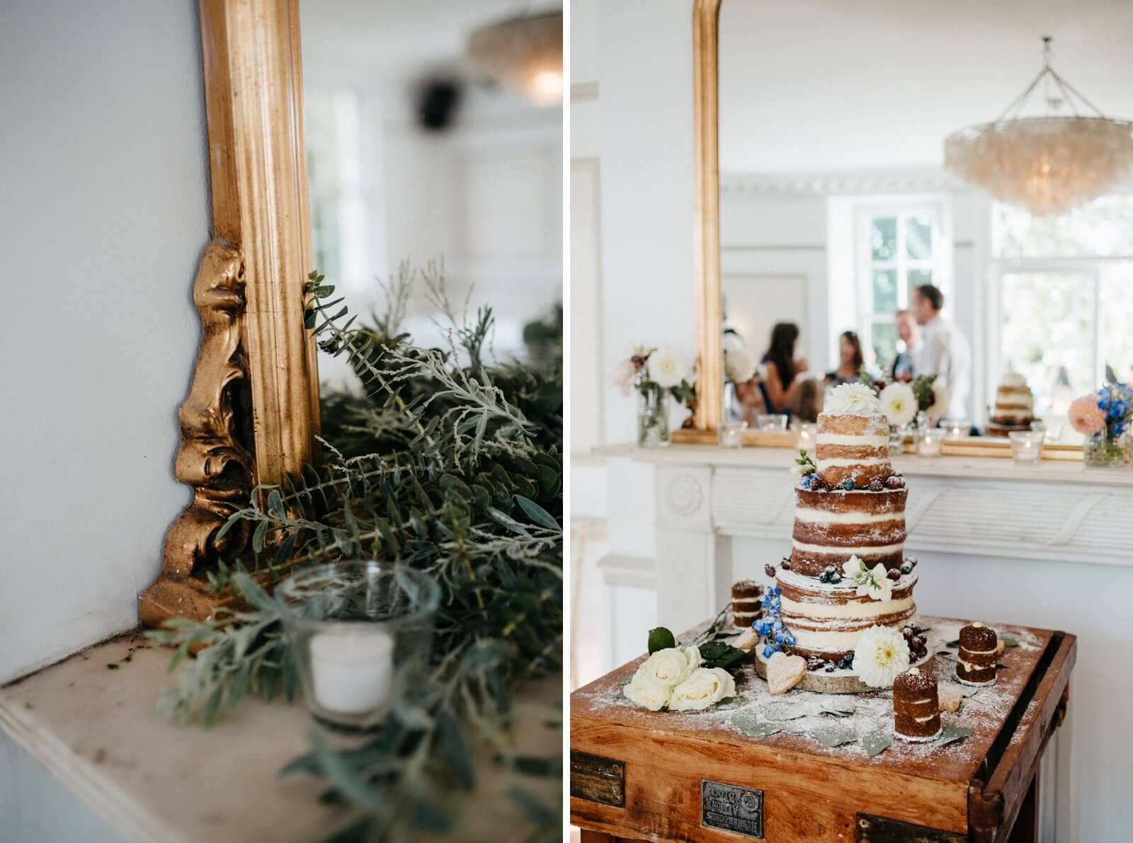 light and airy Belair House wedding venue details including gold framed mirror and naked cake