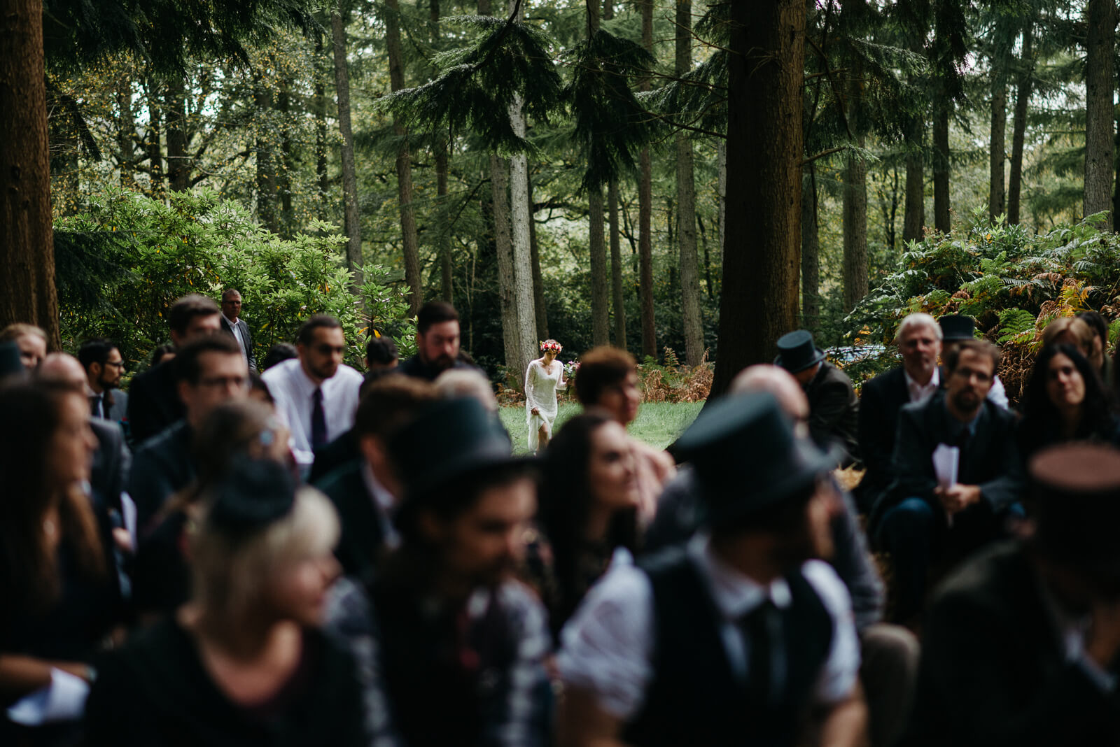 bride arriving at her woodland wedding in Hampshire