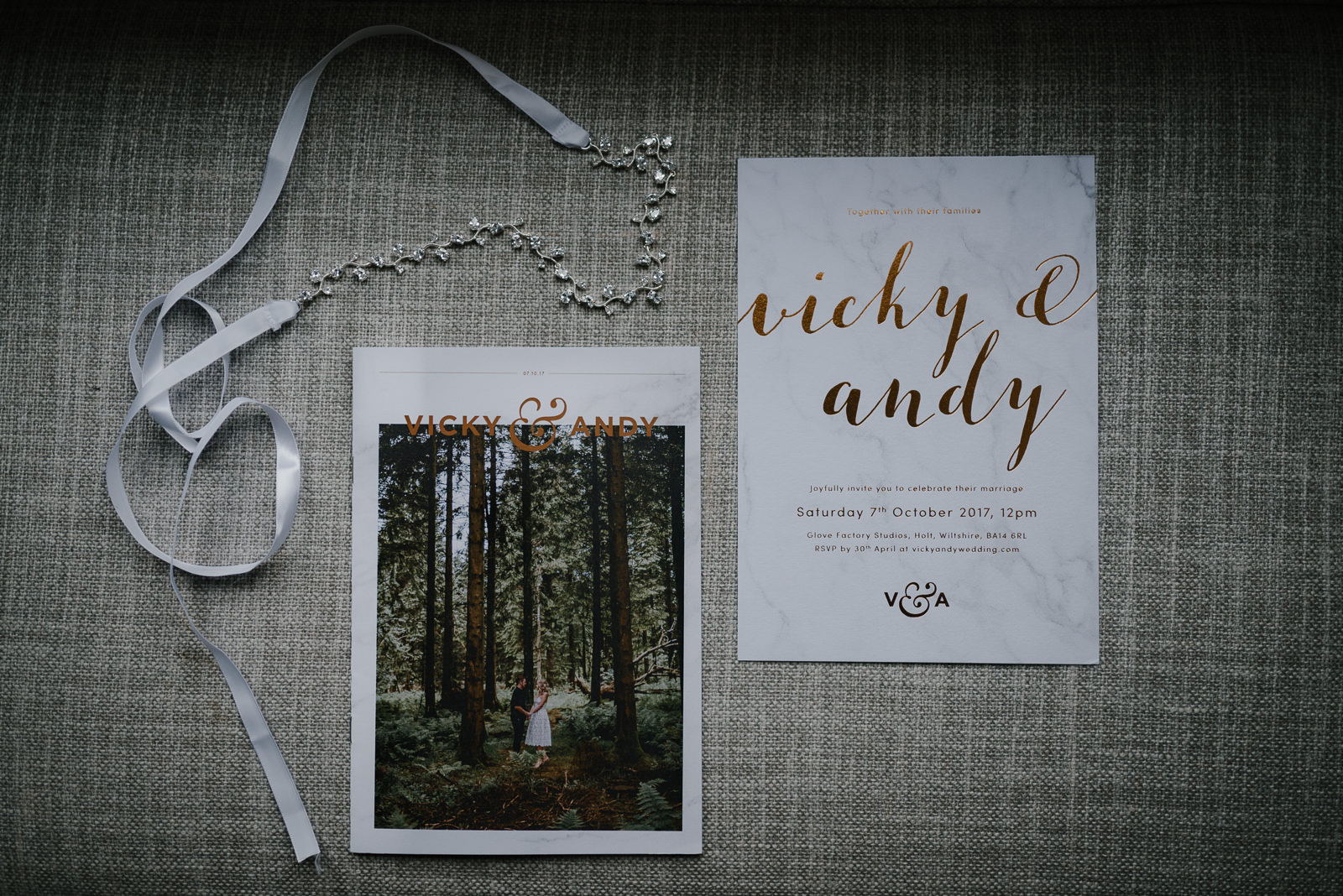 modern couples marble and copper wedding stationery for their Wiltshire wedding