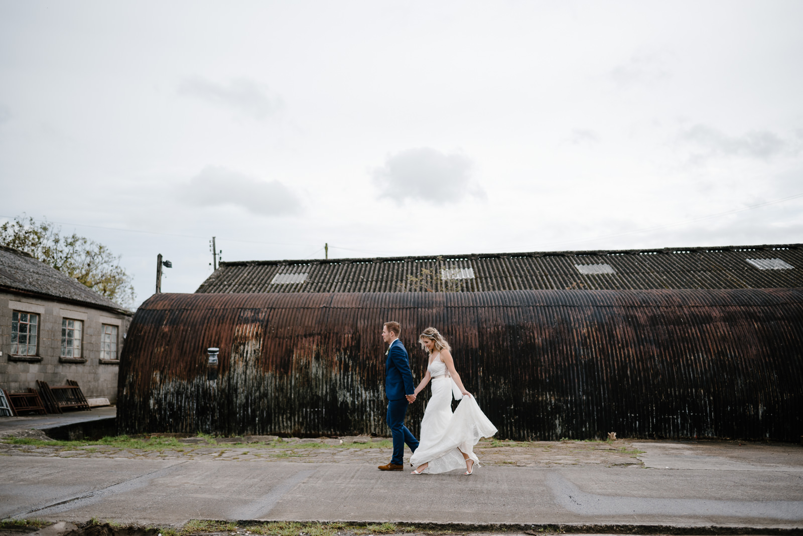 modern wedding portraits in an old industrial factory in Wiltshire