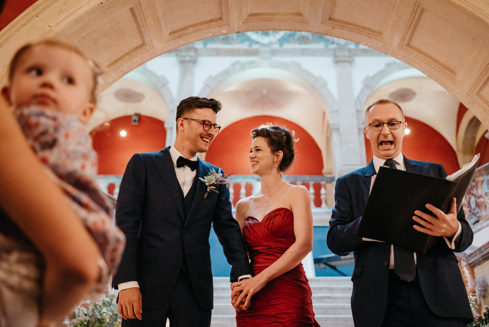 bride and groom share a moment of laughter during their Battersea Arts Centre Wedding