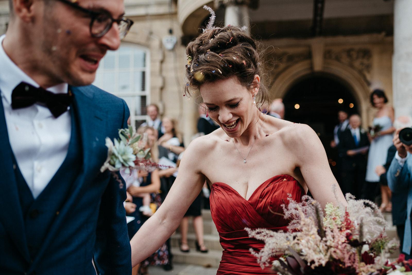 Post confetti throw at alternative Battersea Arts Centre Wedding