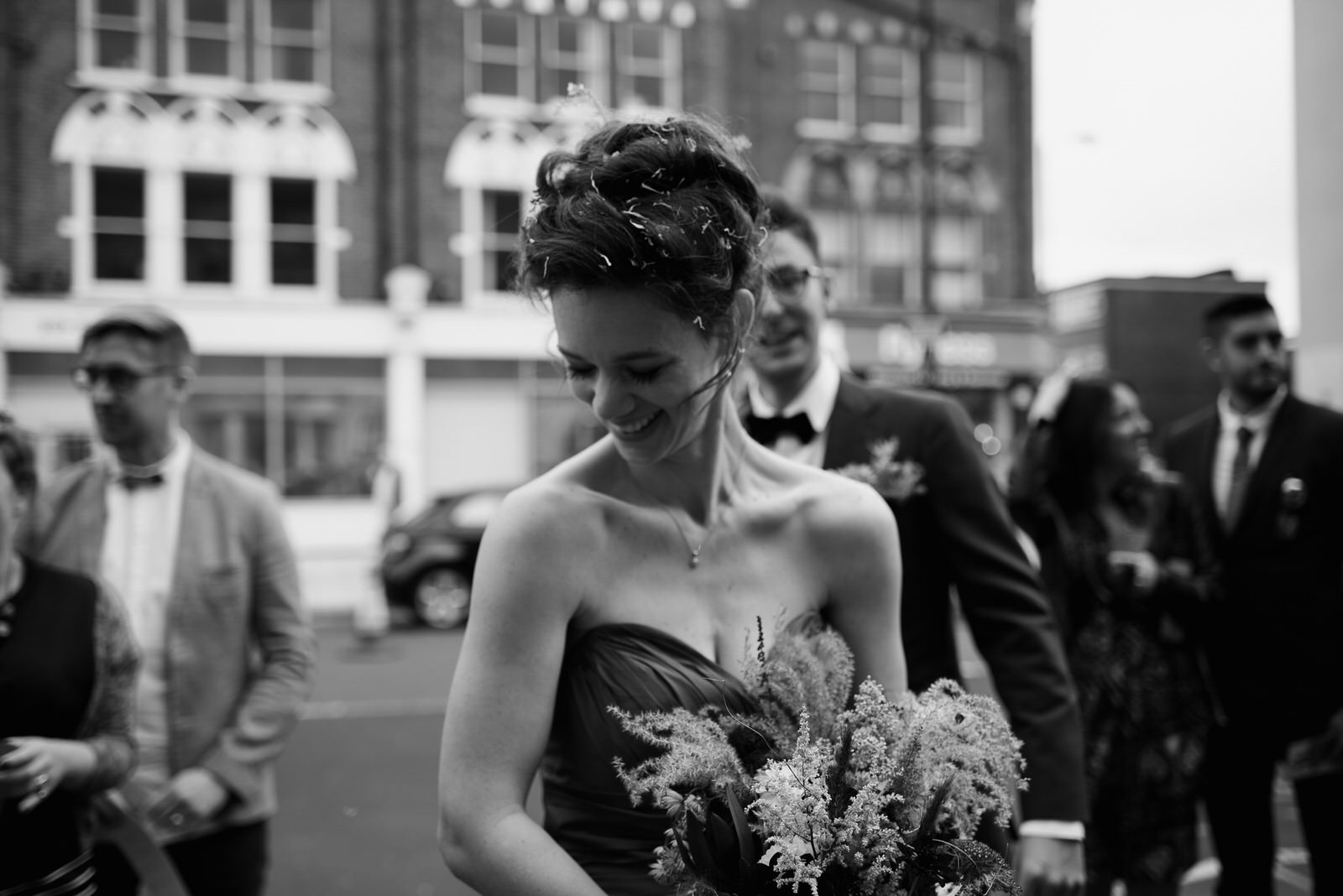 bride moments after confetti throw outside wedding venue Battersea Arts Centre