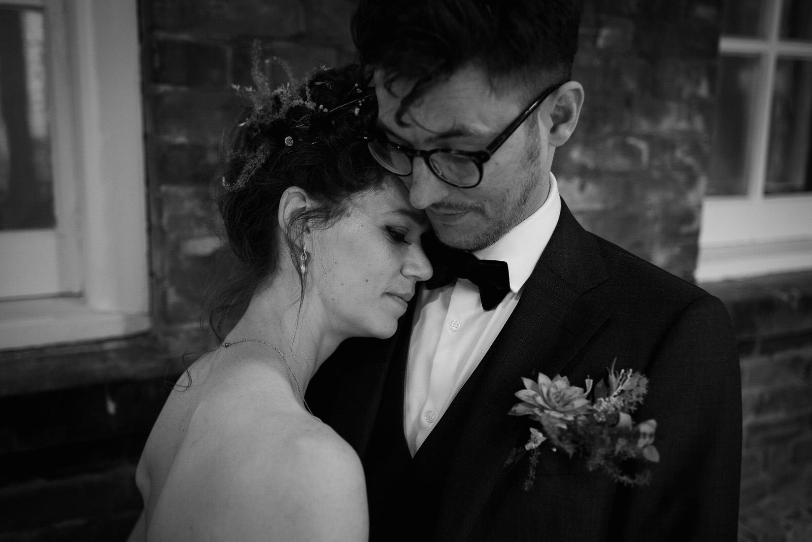 Bride and groom portraits in Battersea Arts Centre in London