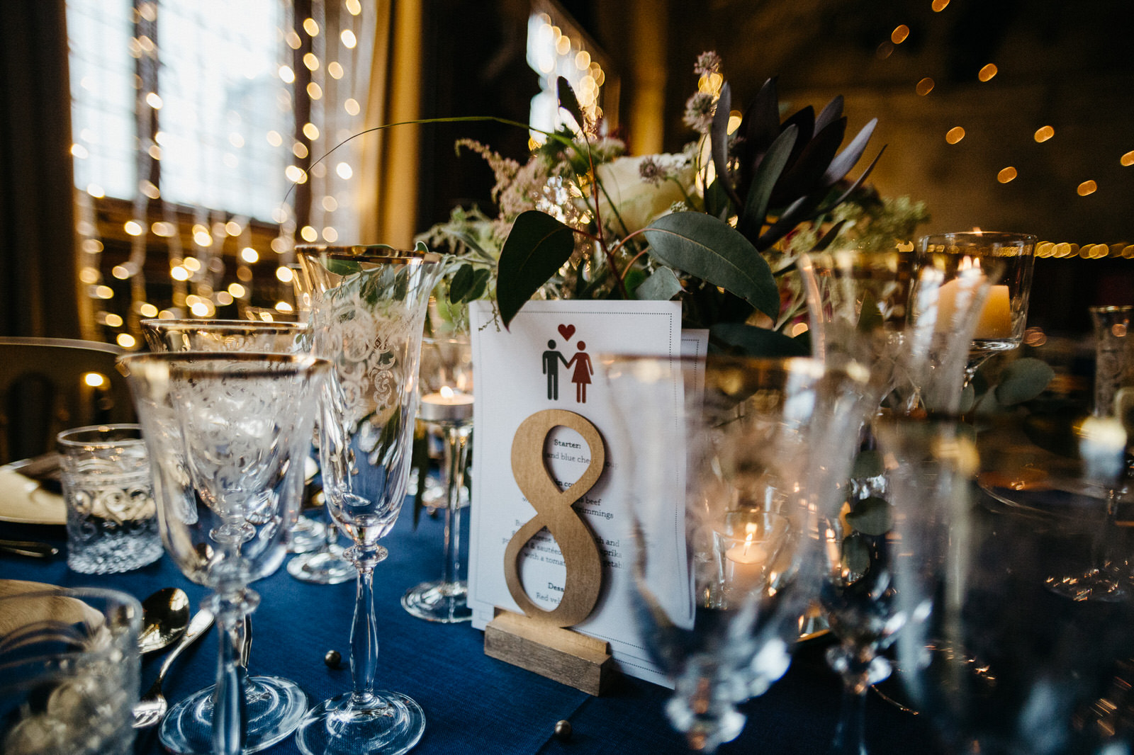 creative table decor details at Battersea Arts Centre wedding