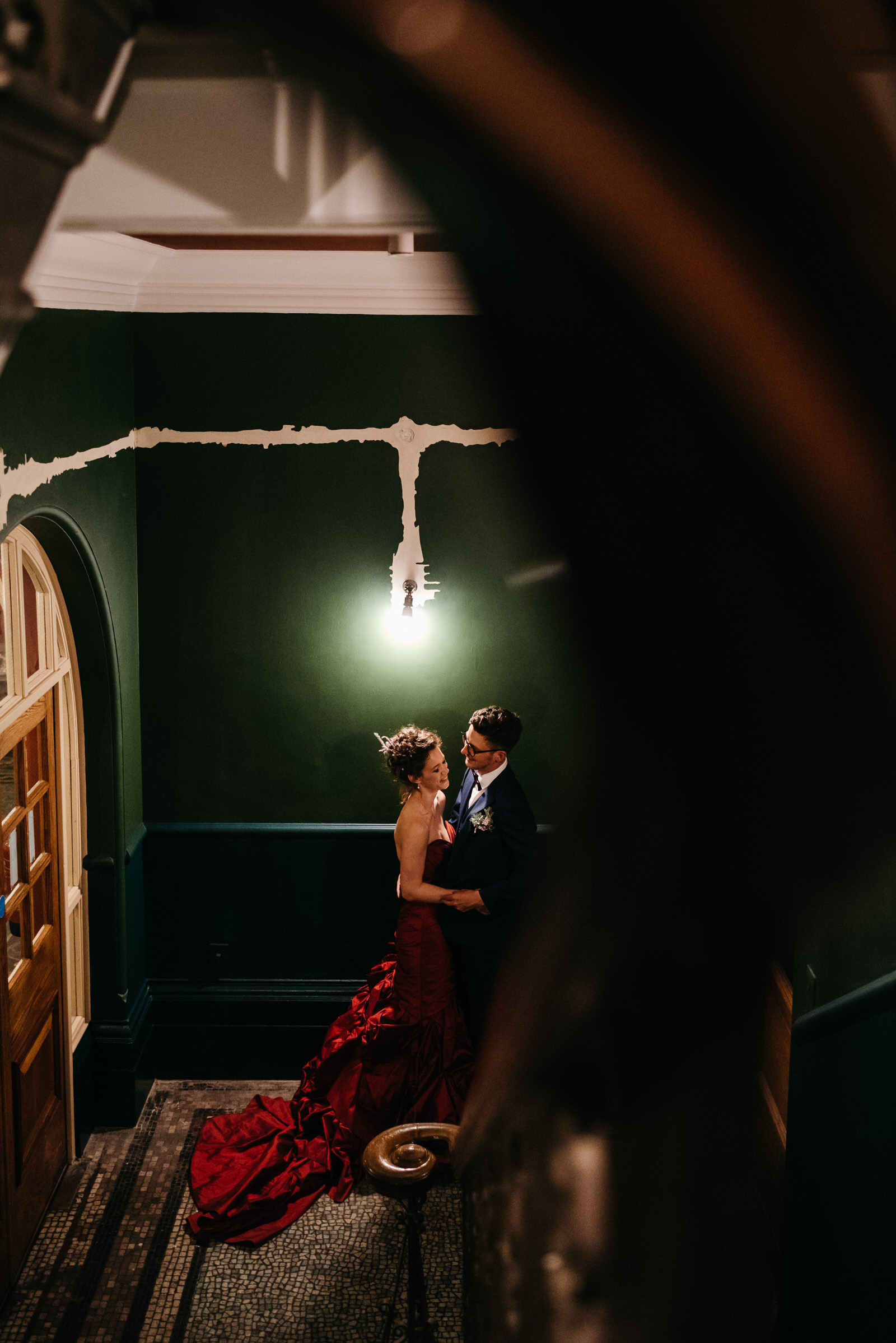 bride and groom sneak away for evening portraits