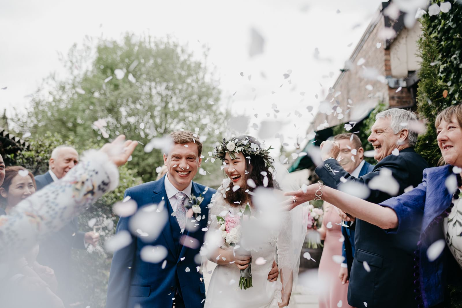 confetti throw outside the Bothy