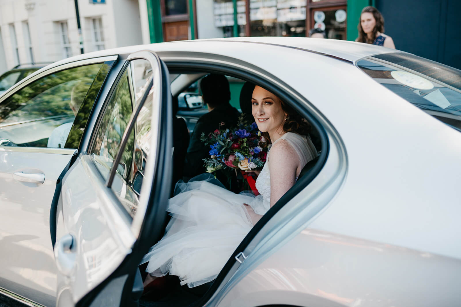 bride leaves morning prep to marry her fiance at Chelsea Old Town Hall nearby