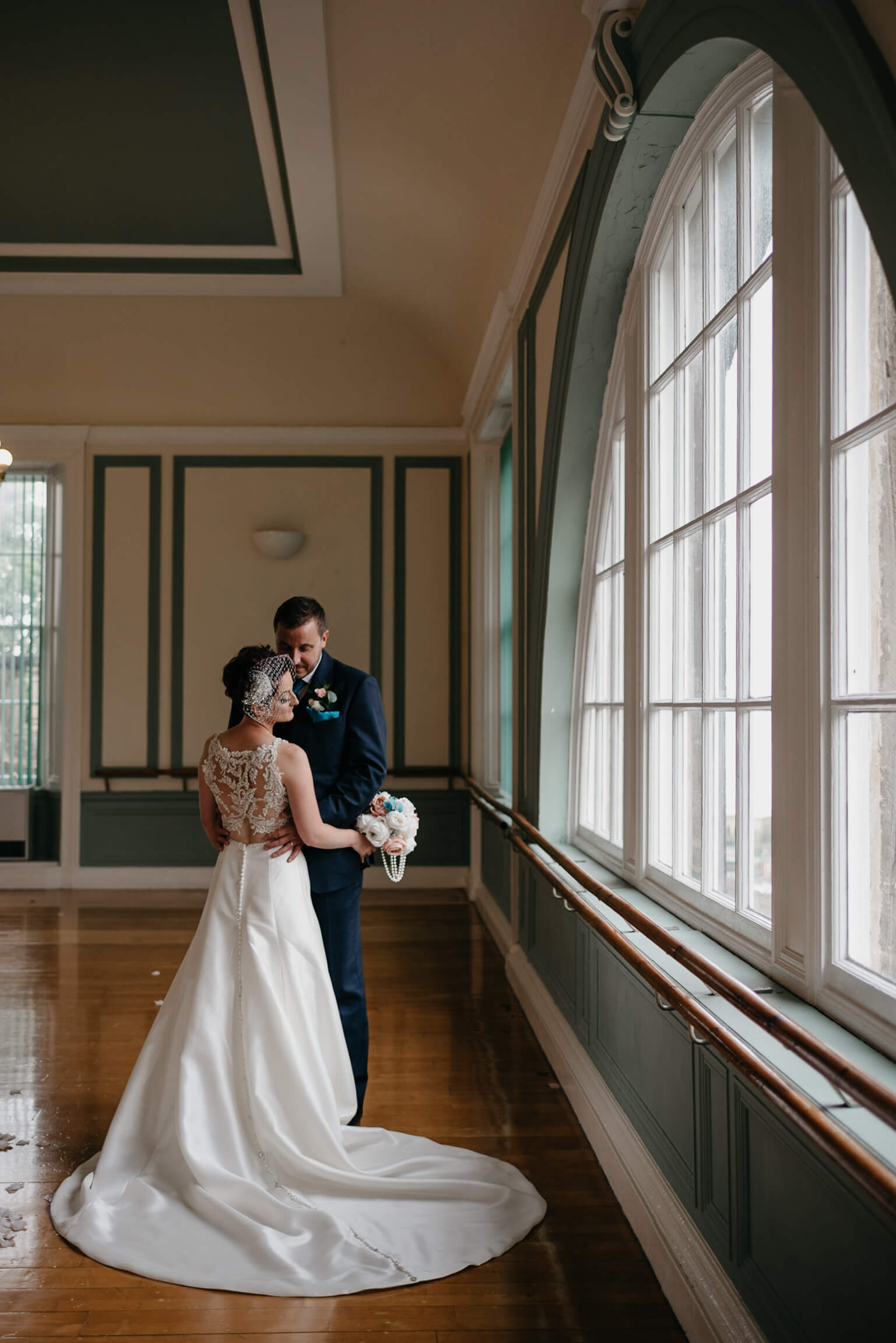 Bride and groom portrait after their Bo'ness Town Hall wedding