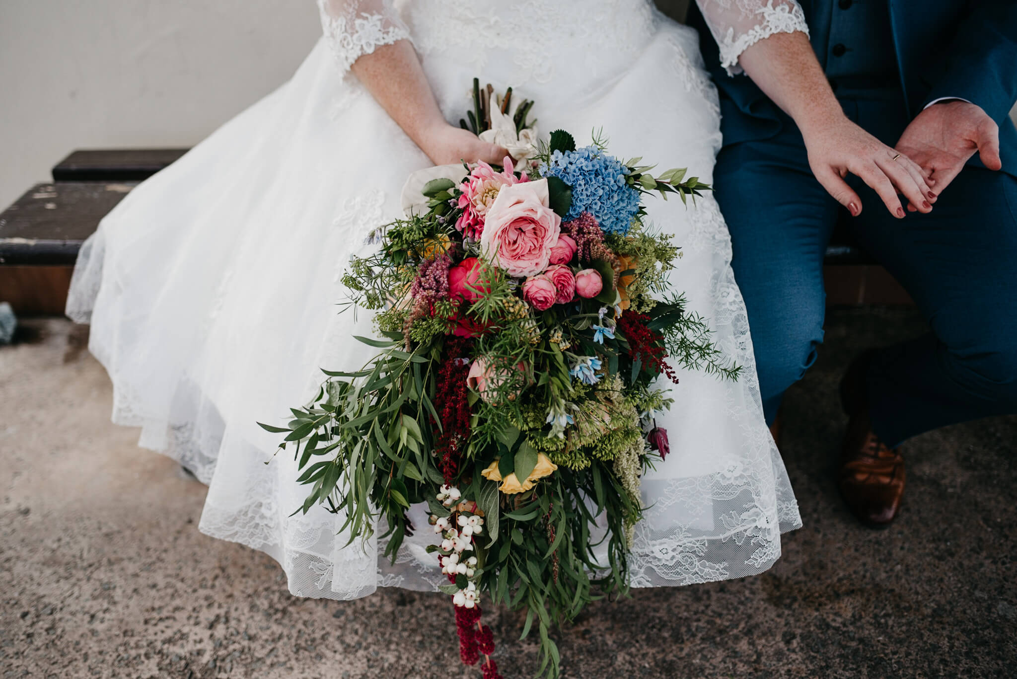 beautiful vibrant colourful wedding bouquet