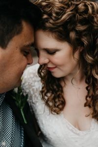 Initmate and heartfelt portrait of South Wales wedding couple