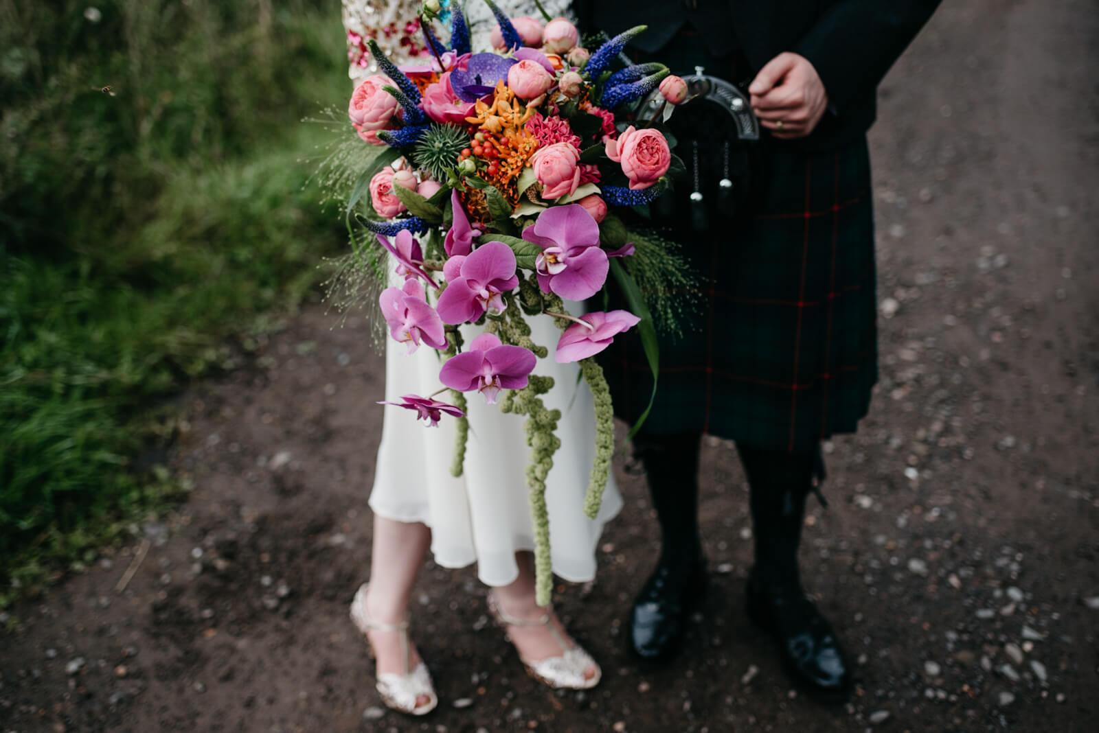 vibrant flower arrangement for a late summer wedding in Dunblane