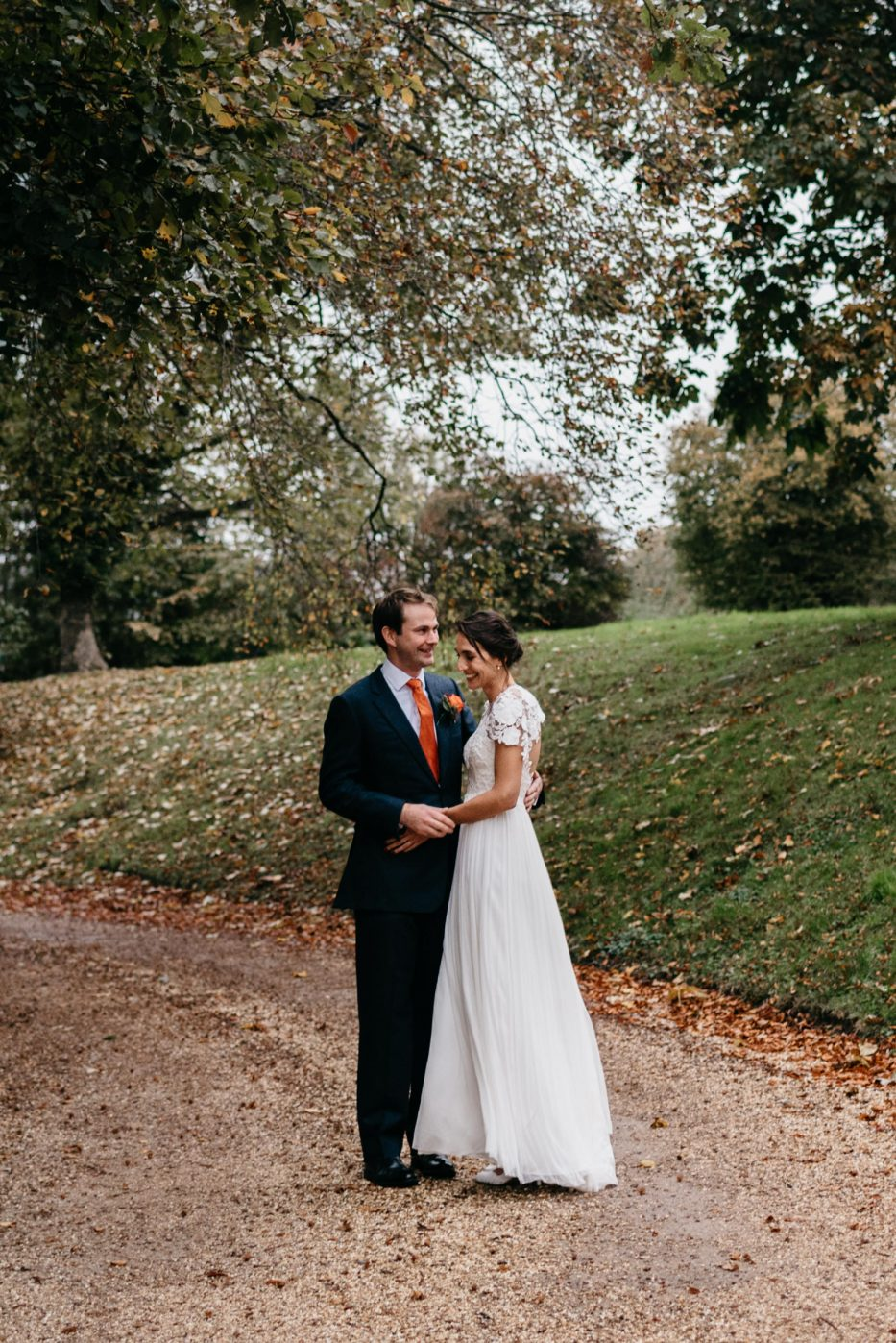 candid photograph of Chepstow bride and groom during wedding at St Tewdrics House