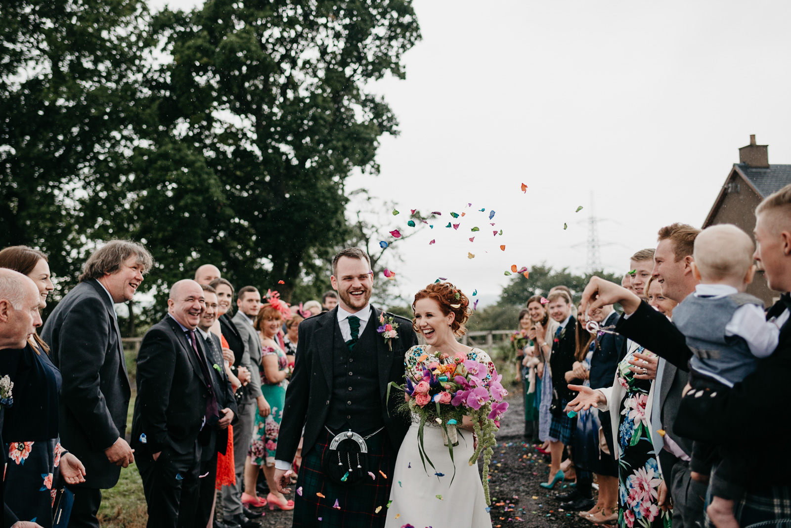 Colourful wedding at family farm in Dunblane, Kinbuck