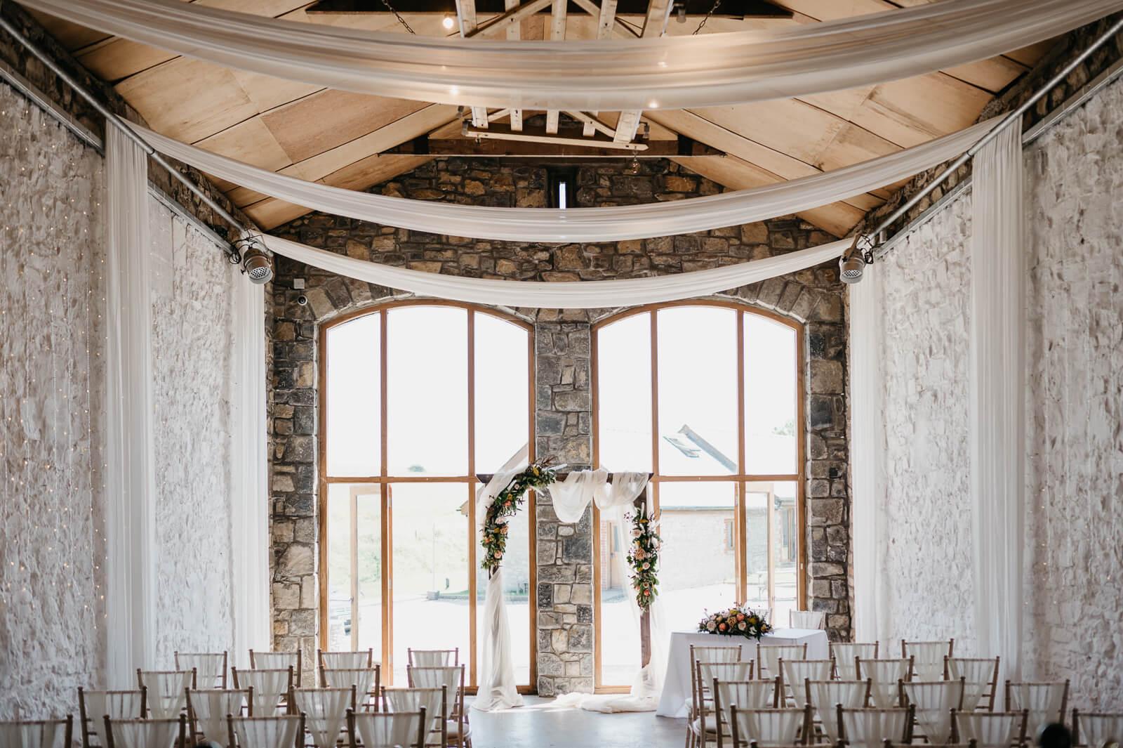 ceremony room at South Wales wedding venue, Rosedew Farm